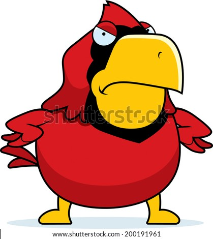 a cartoon cardinal with an