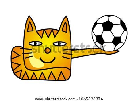 a cartoon cat with a soccer
