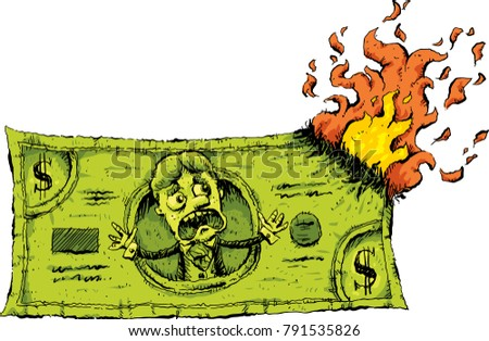 A cartoon character on a cash dollar bill reacts with fear when the money catches on fire and starts burning.