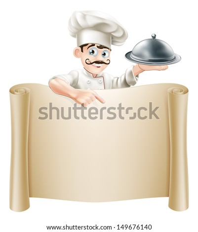 A cartoon chef character holding a silver platter or cloche pointing at a scroll or menu