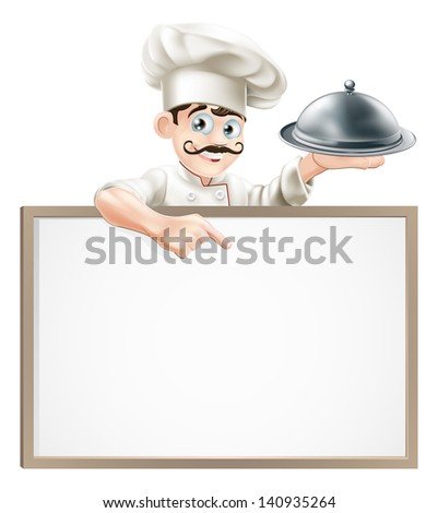 A cartoon chef character holding a silver platter or cloche pointing at sign