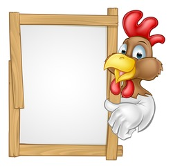 A cartoon chicken rooster character pointing at a sign or giving a thumps up towards it