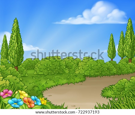 A cartoon country lane park or garden background with flowers and trees.