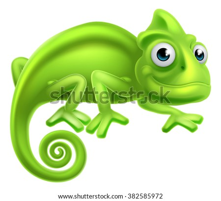 a cartoon cute chameleon lizard