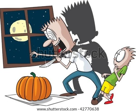 A cartoon Dad and son carving a pumpkin. Layered vector file.