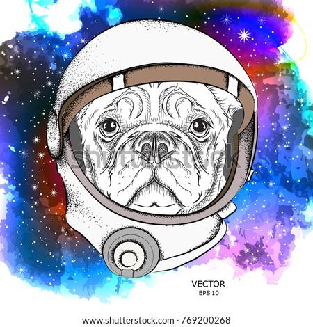 a cartoon dog in an astronaut's