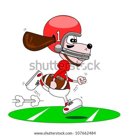 A cartoon dog playing American football