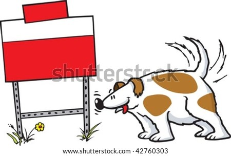 A cartoon dog sniffing a yard sign. Layered vector file.