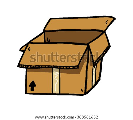 a cartoon doodle of a cardboard