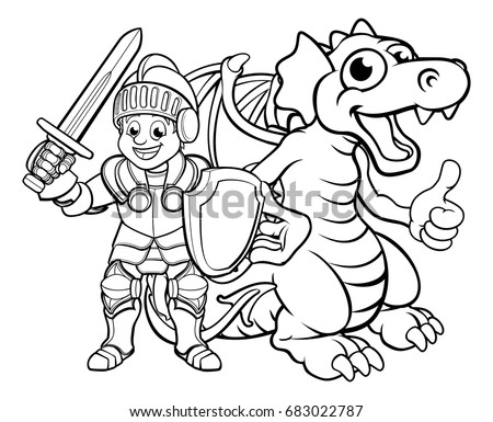 a cartoon dragon and knight boy