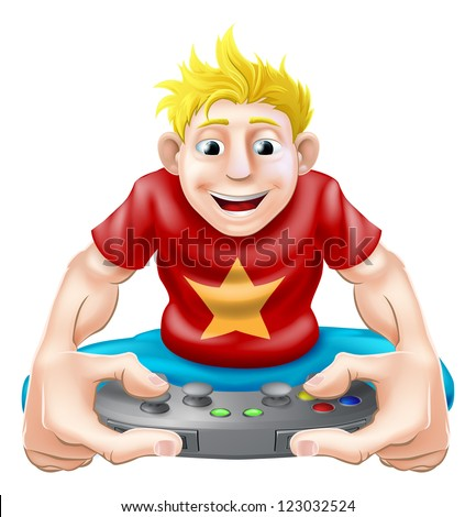 A cartoon drawing of a young gamer playing on his games console