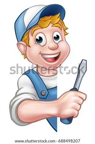 A cartoon electrician or handyman holding a screwdriver