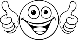 A cartoon emoji icon emoticon looking very happy with two thumbs up