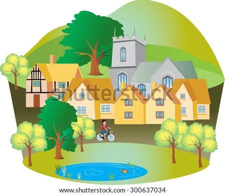 a cartoon english village with