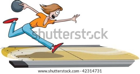 A cartoon female bowler throwing the ball down the lane. Lane and woman are on separate layers.