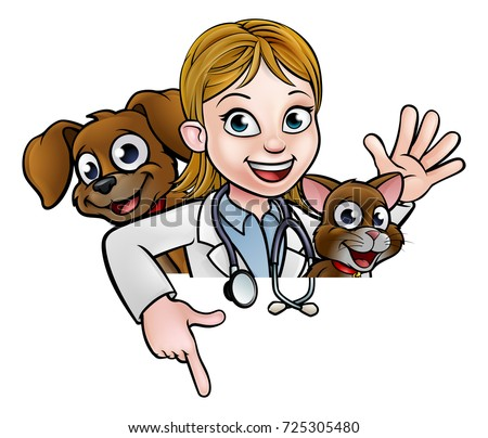 a cartoon female vet character