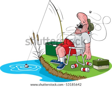 A cartoon fisherman asleep in his chair. Layered vector file. Fisherman, tackle box, cooler, grass, water, cans, flies and cattails are all on separate layers.