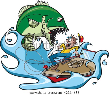 A cartoon fisherman catching a huge fish.