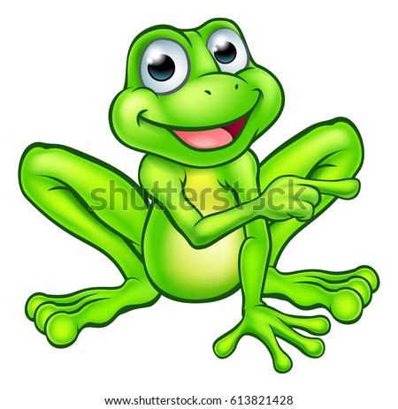 a cartoon frog mascot character