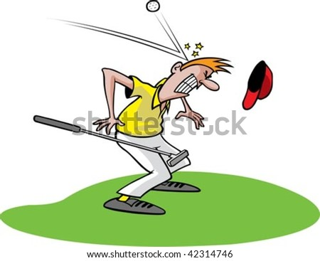 A cartoon golfer getting hit in the head with a ball. Golfer, grass and ball are on separate layers.