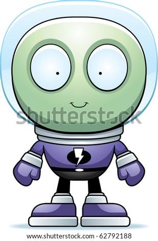 A cartoon green alien in a spacesuit.