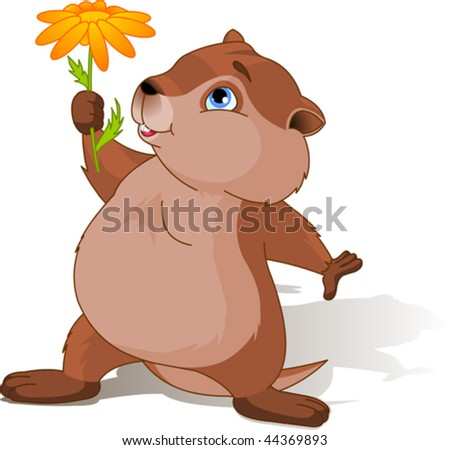 A cartoon groundhog holding a first spring flower.