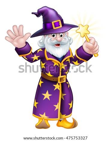a cartoon halloween wizard