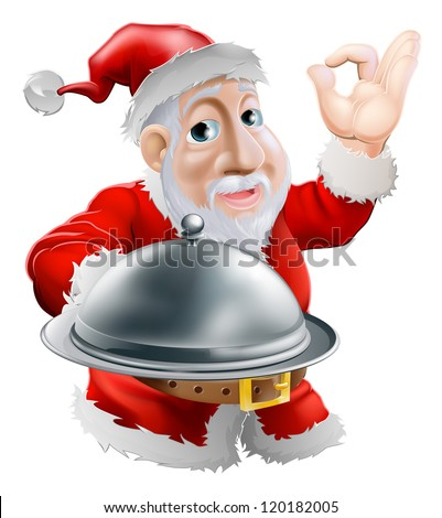 A cartoon happy Santa  doing a chef's perfect sign with his hand and holding a covered metal plate of food