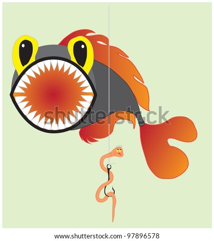 A cartoon illustration about fishing, fish and an unlucky worm. Vector hand drawing EPS 10.