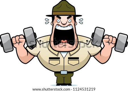 A cartoon illustration of a drill sergeant lifting weights.