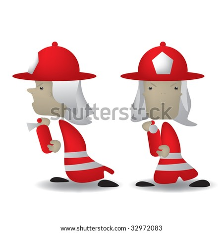 stock vector : A cartoon illustration of a fireman front and side view