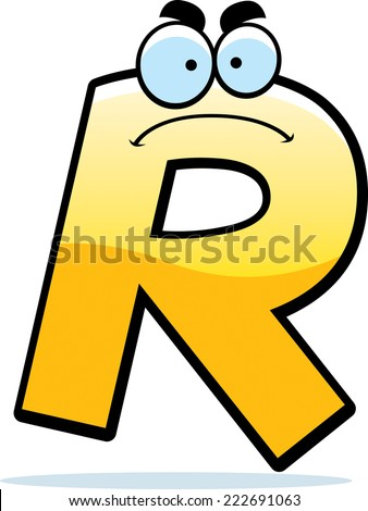 A cartoon illustration of a letter R with an angry expression. Stock fotó ©