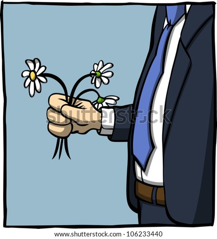 A cartoon illustration of a man in business attire holding a small bunch of slightly wilted daisies. Face not visible; zoomed in around hand and torso area.