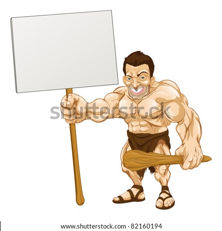 A cartoon illustration of a muscular caveman holding a sign