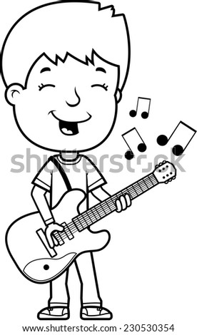 A Cartoon Illustration Of A Teenage Boy Playing An Electric Guitar