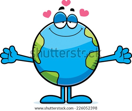 A cartoon illustration of the planet Earth ready to give a hug