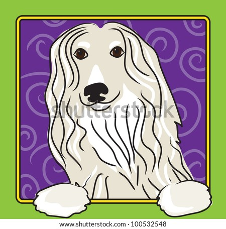 A cartoon image of an Afghan hound, created in the folk art tradition.
