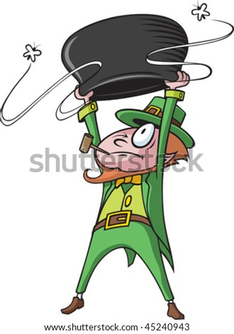 A cartoon Leprechaun whose pot of gold is empty.