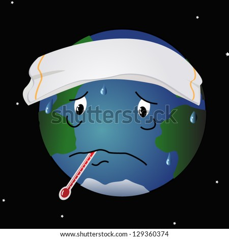 A cartoon like illustration of the planet Earth, with a thermometer in its mouth, running a fever.