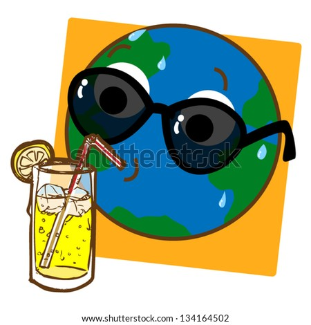 A cartoon like stylized illustration of the planet Earth drinking ice cold lemonade!