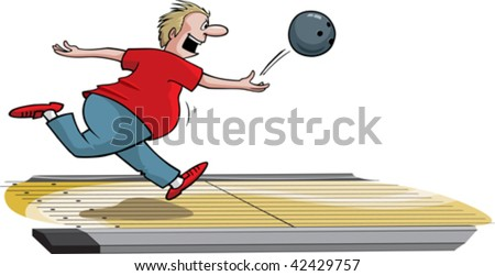 A cartoon male bowler throwing ball down lane. Layered vector file.