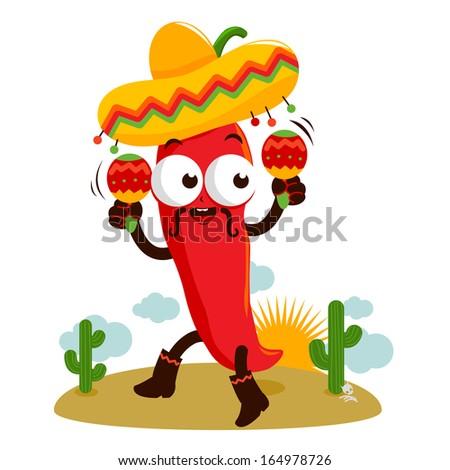 a cartoon mariachi chili pepper