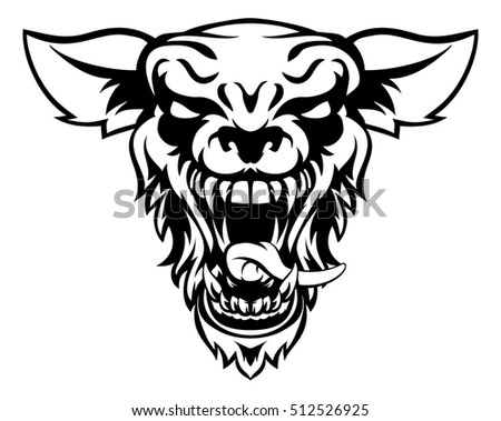 a cartoon mean looking wolf or