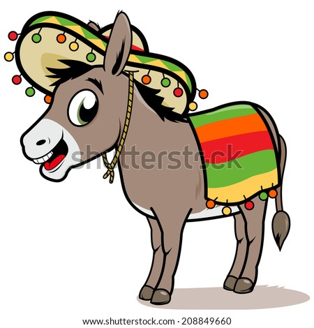 A cartoon Mexican donkey wearing a sombrero and a colorful blanket.