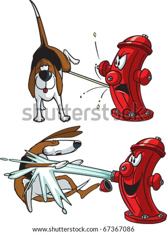 A cartoon of a dog peeing on a hydrant . Layered vector file available.