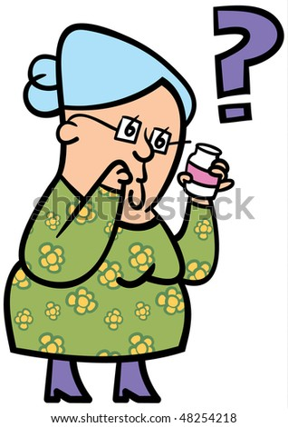 A cartoon of an elderly lady confused about her medication