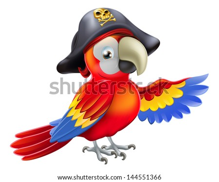 A cartoon pirate parrot character with an eye patch and tricorn hat with skull and cross bones pointing with its wing