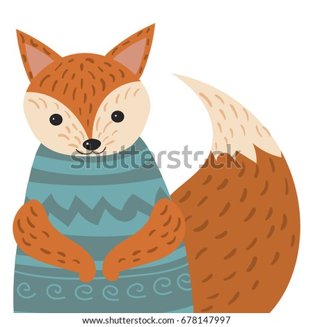 A cartoon portrait of a fox. Stylized happy fox in sweater. Drawing for children. Vector illustration of an animal for a postcard.