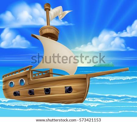 a cartoon ship or boat sailing