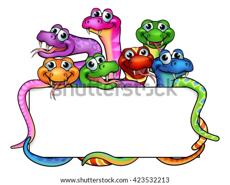 stock-vector-a-cartoon-snakes-sign-with-cute-friendly-snake-characters